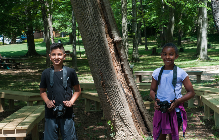 Students happy to be outside photographing their surroundings!