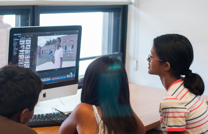 Students learn to edit their films after shooting.
