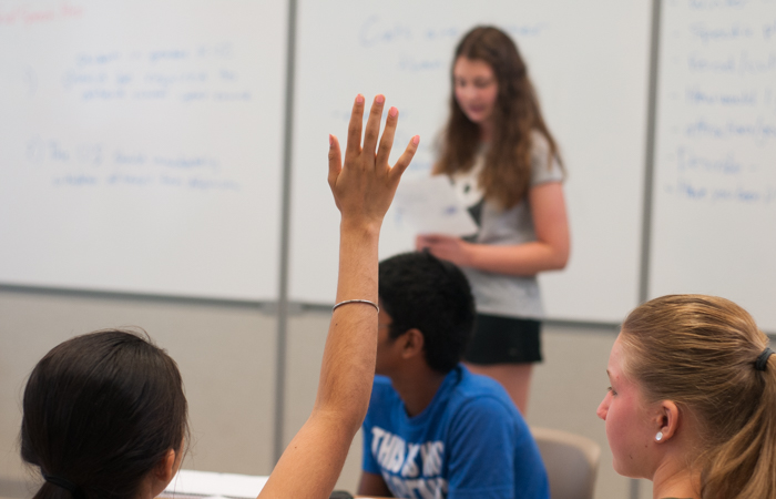 During counterpoint arguments, students can ask the speaker questions.